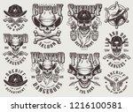 vintage monochrome wild west... | Shutterstock .eps vector #1216100581