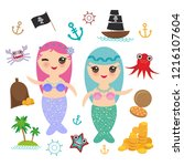kawaii mermaid with blue and... | Shutterstock . vector #1216107604