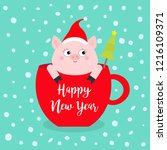 happy new year 2019. pig... | Shutterstock .eps vector #1216109371