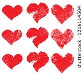 set of hearts . grunge stamps... | Shutterstock .eps vector #1216114504