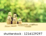 saving for a first house... | Shutterstock . vector #1216129297