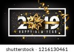 New Year Typographical Cretaive Background 2019 With Christmas Bow