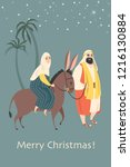 christmas card in retro style... | Shutterstock .eps vector #1216130884