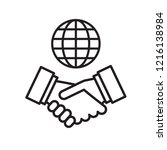 vector handshake and globe icon.... | Shutterstock .eps vector #1216138984