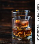 alcohol drink whisky  whiskey... | Shutterstock . vector #1216143091