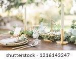 luxury wedding reception... | Shutterstock . vector #1216143247