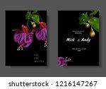 floral wedding invitation card... | Shutterstock .eps vector #1216147267