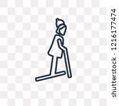 skier woman vector outline icon ... | Shutterstock .eps vector #1216177474
