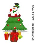 cartoon christmas tree | Shutterstock .eps vector #121617901