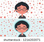 a boy without immunity who is... | Shutterstock .eps vector #1216202071