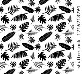 tropical seamless pattern. palm ... | Shutterstock .eps vector #1216213294