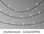 christmas color lights string.... | Shutterstock .eps vector #1216225951