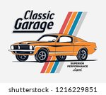 retro style classic muscle car... | Shutterstock .eps vector #1216229851