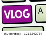 writing note showing vlog.... | Shutterstock . vector #1216242784