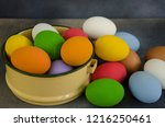 beautiful shell of colored egg... | Shutterstock . vector #1216250461