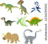cartoon dinosaurs collection set | Shutterstock .eps vector #1216254541
