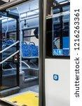 button to open the doors of... | Shutterstock . vector #1216263361