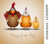 happy easter   funny chicken... | Shutterstock .eps vector #121626349