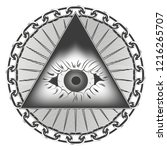 graphic pyramid with an eye of... | Shutterstock .eps vector #1216265707