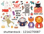 big set with cute animals doing ...   Shutterstock .eps vector #1216270087