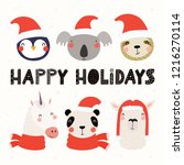 set with cute animals in santa... | Shutterstock .eps vector #1216270114