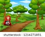 red hooded girl are in the... | Shutterstock . vector #1216271851