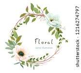 wreath with flowers anemones ... | Shutterstock .eps vector #1216274797