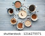 many cups with tasty aromatic...   Shutterstock . vector #1216275571