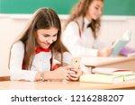 schoolgirls in school uniforms... | Shutterstock . vector #1216288207