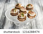 Stock photo herring with black bread and sour cream 1216288474
