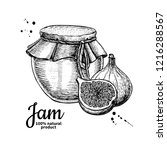 fig jam glass jar drawing.... | Shutterstock . vector #1216288567