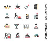 set of hotel icons   Shutterstock .eps vector #1216296391