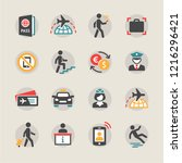airport icons set | Shutterstock .eps vector #1216296421