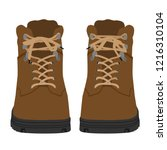 brown army military boots... | Shutterstock .eps vector #1216310104