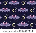 cute bats in the night sky .... | Shutterstock .eps vector #1216312714