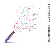 violet tube with exploding... | Shutterstock .eps vector #1216317091