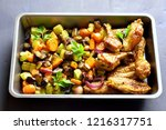 grilled vegetables with chicken ... | Shutterstock . vector #1216317751