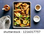 grilled vegetables and chicken... | Shutterstock . vector #1216317757