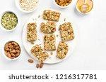 granola bar on white background.... | Shutterstock . vector #1216317781