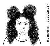 curly beauty girl illustration... | Shutterstock .eps vector #1216328257