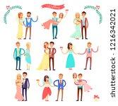 wedding set of icons ...   Shutterstock . vector #1216342021