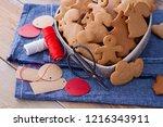 homemade christmas gingerbreads ...   Shutterstock . vector #1216343911