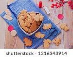 homemade christmas gingerbreads ...   Shutterstock . vector #1216343914
