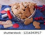 homemade christmas gingerbreads ...   Shutterstock . vector #1216343917