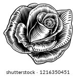 a rose flower in a woodcut... | Shutterstock .eps vector #1216350451
