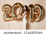 woman with balloons celebrating ... | Shutterstock . vector #1216355164