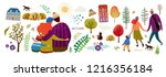 family in autumn  create your... | Shutterstock .eps vector #1216356184