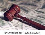 Court Gavel On Money Backgroun...