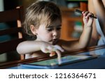 little girl  two years old ... | Shutterstock . vector #1216364671