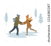 couple   man and woman ice...   Shutterstock .eps vector #1216382287